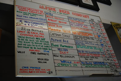 Alpine Beer Menu