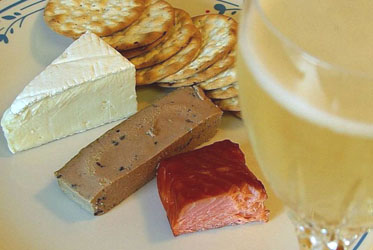 Champagne, Pate, Salmon and Cheese