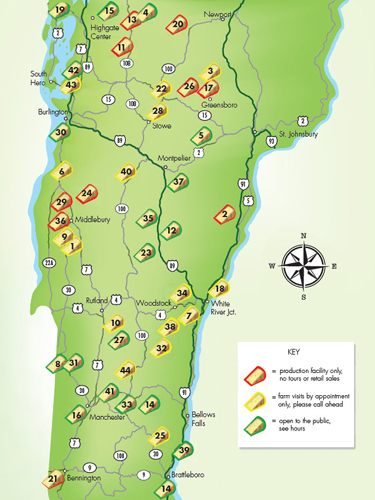 Vermont Cheese Map